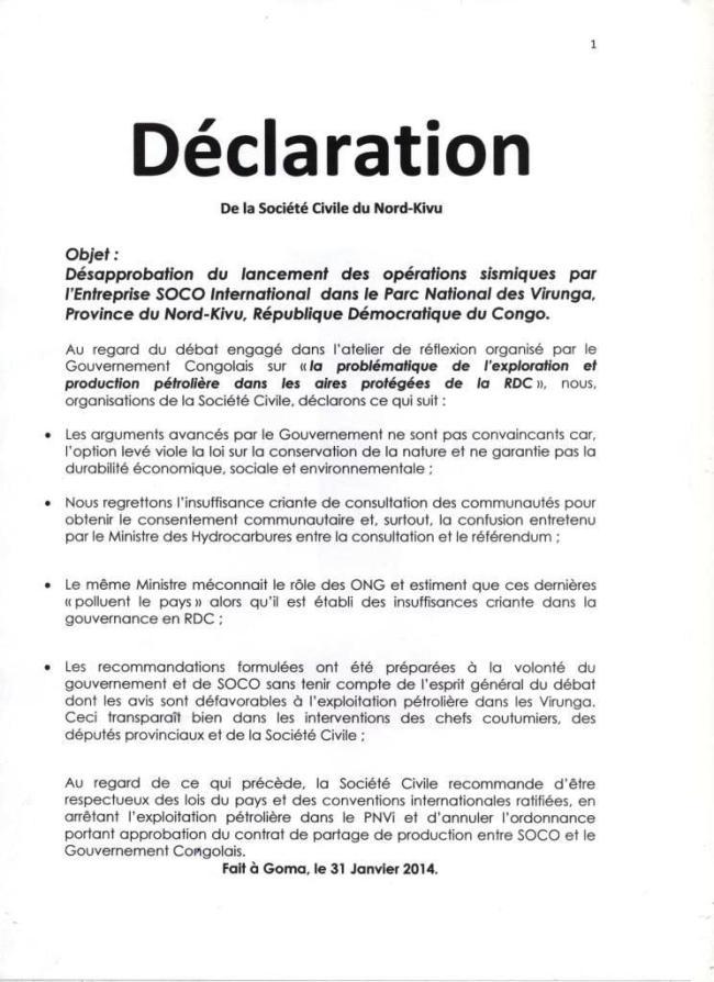 Declaration de Goma 31 Janvier 2014