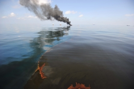 GULF OF MEXICO- MAY 6: Oil burns during a controlled fire May 6, 2010 in the Gulf of Mexico. The U.S. Coast Guard is overseeing oil burns after the sinking, and subsequent massive oil leak, from the sinking of the Deepwater Horizon oil platform off the coast of Louisiana. (Photo by Justin E. Stumberg/U.S. Navy via Getty Images)