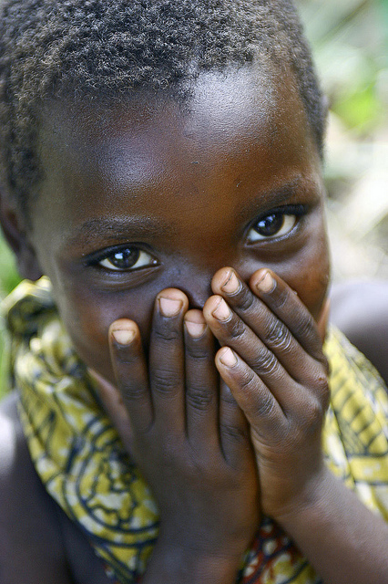 A young shy child from the village. MONUC, Lake Albert Patrolling Mission, Democratic Republic of the Congo.