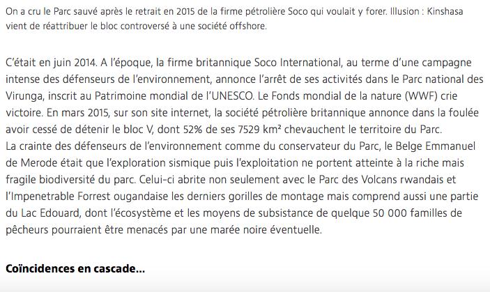 BREAKING: DRC Virunga Park Again Threatened by Oil, links to SOCO