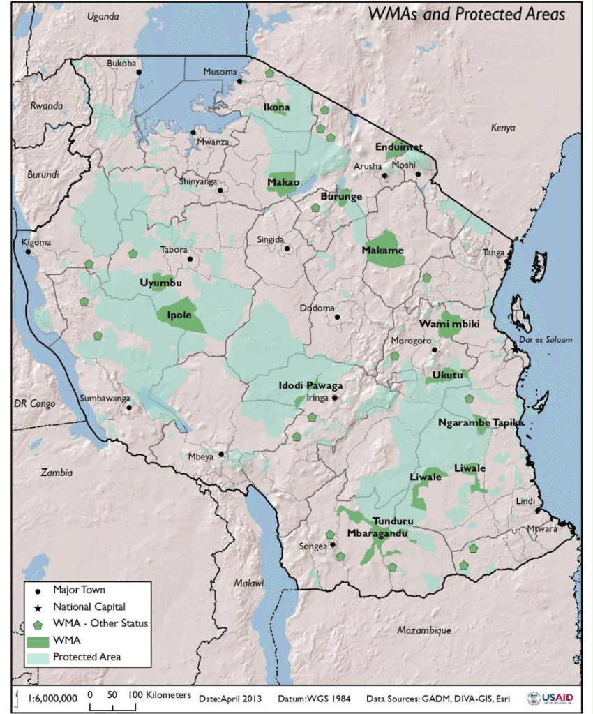 Protected areas in Tanzanie