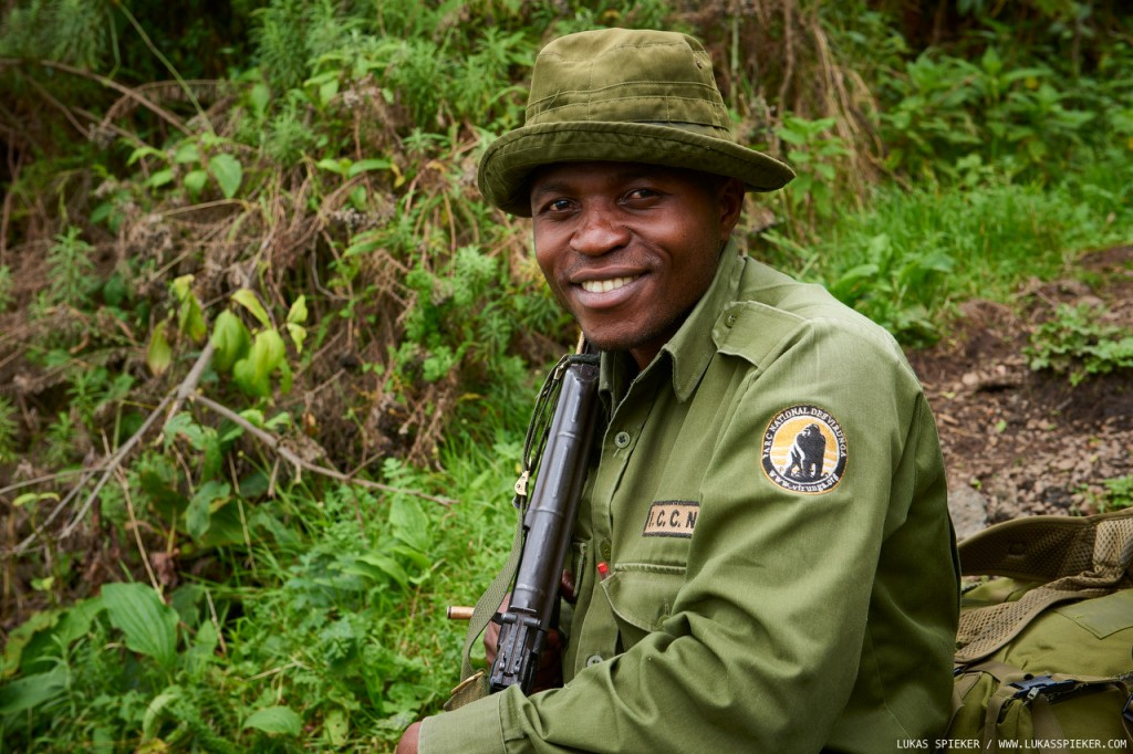 Joseph, a Virunga national park ranger, climbs the Nyiragongo volcano three times a week. The ascent has a 1500 m elevation gain and takes about five hours. The Virunga rangers cover a broad spectrum of duties including wildlife and nature conservation, securing the park, preventing poaching, and escorting tourists for the mountain gorilla trecks and Nyiragongo volcano climbs. Over the last years, 150 rangers have been killed in the line of duty.