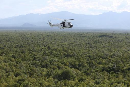 CAPTION: 24 April 2015. North Kivu – DR Congo: MONUSCO airborne patrolling troops flying over North Kivu territory. Photo MONUSCO/Abel Kavanagh