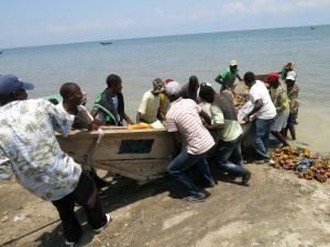 Une pirogue de retour après une nuit passée au lac Edouard entrain de pratiquer la pêche. A son arrivé ses collègue pêcheurs l'aide à rétirer sa pirogue dans l'eau enfin de pouvoir faire la vente des poissons à ses clients mais aussi arranger ses filets.