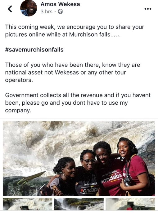 Nabakiibi Teopista 🇺🇬 @tnabakiibi This week share your pictures online while at Murchison Falls with #savemurchisonfalls on all online platforms ... no one should touch it .
